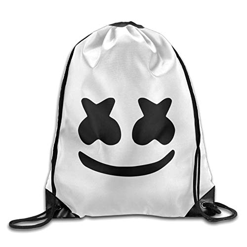 ngratyhJohn Marshmello Face Outing Package, Cool DJ Marshmello Face Print Drawstring Shoulder Bag Travel Outdoor Backpack for Electronic syllable Halloween
