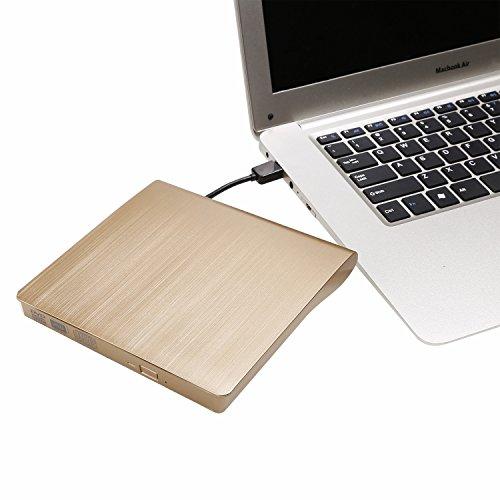 LEADSTAR Externes DVD Laufwerk USB 3.0 DVD/CD Brenner RW ROM Player Writer für Mac Macbook Pro Air iMac Laptops Desktops Notebooks unterstützt Windows 2000, 7, 8, XP, Vista und allen Versionen Mac OS Systeme (Gold)