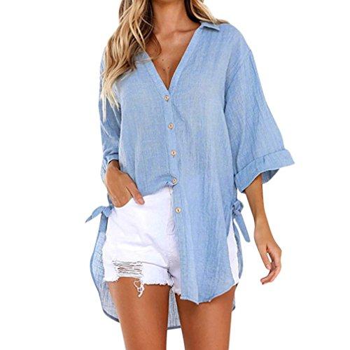 Lambswool Schal Kragen (SEWORLD 2018 Damen Mode Sommer Herbst Elegant Schal Beiläufig V-Ausschnit Lose Button Lange Shirt Kleid Baumwolle Damen Tops T-Shirt Bluse(A-Blau,EU-40/CN-M))