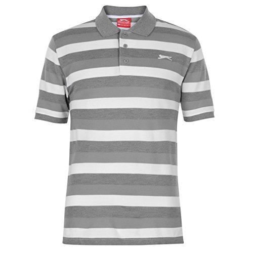 Slazenger Herren Pique Polo Shirt Gestreift Kurzarm Grau L -
