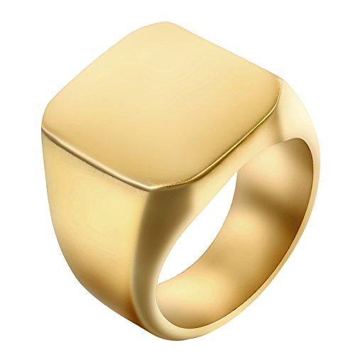 JewelryWe Schmuck Biker Edelstahl Herren-Ring, Glänzend Poliert Siegelring Quadrat Band Ring, Gold Größe 57 - mit Geschenk Tüte