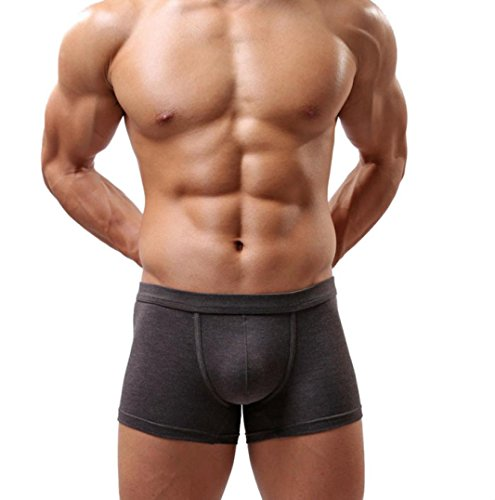 Tonsee Hommes Boxer Shorts Ardennes Pouch Slip doux (L, gris)