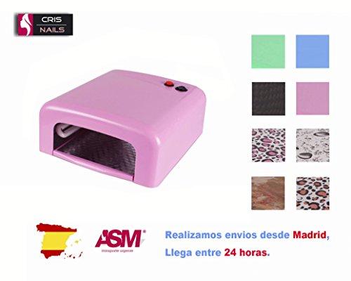Cris Nails ® Lampara 36W Ultravioleta UV Secador de Uñas para Manicura Gel Esmalte Permanente SK-818 (Rosa)