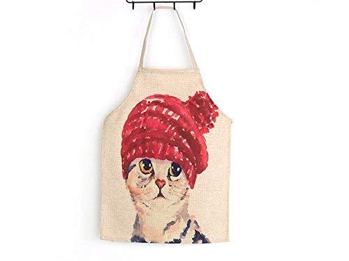 QINCH HOME Hängendes Hals-Sleeveless-Schutzblech Karikatur-niedliche Tier-rote Hut-Katze druckte Schutzblech für Erwachsenen