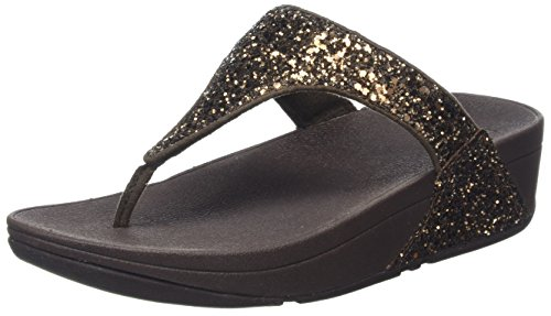 FitFlop Damen Glitterball Toe-Post T-Spangen Sandalen, Braun (Bronze Glitter), 43 EU (Sandalen Sparkle Damen)