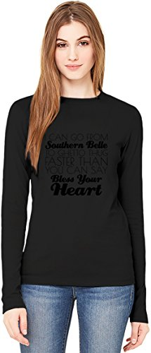 I Can Go From Southern Belle To Ghetto Thug Funny Slogan Damen Langarm T-Shirt Long-Sleeve T-shirt For Women| 100% Premium Cotton| DTG Printing| XX-Large