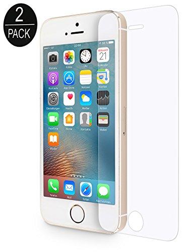 WIIUKA [2 Stück] Panzerglas -Protect- für Apple iPhone 5 / 5S / SE, gehärtetes 9H Glas mit schmutzabweisender Oberflächenbeschichtung, Premium Schutzfolie