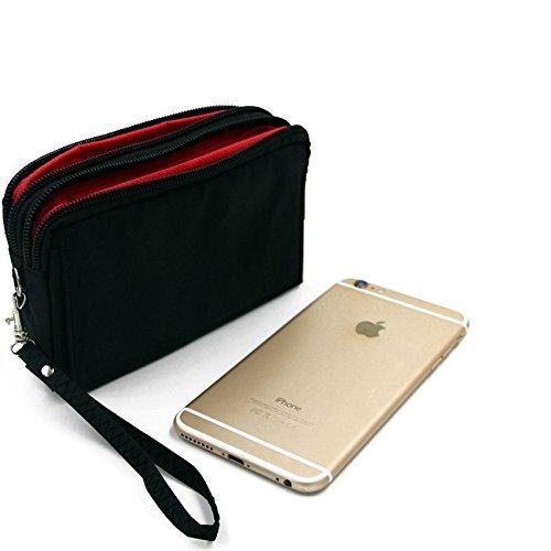 Confezione da cintura per Sony, Samsung, Huawei, lenovo, Medion, UHAPPY, Haier, Leagoo, Cubot, TIMMY, odys, Blackview, Uhans, il nero. Travel Bag, copertura Custodia da viaggio con protezione anti-furto, body bag, borsa protettiva, borsa da viaggio, un sacco di spazio di archiviazione, grandi scomparti per armi sacchetto protettivo per i pantaloni / cintura.   Clip da cintura tasca esterna sacchetto esterno di caso escursionismo campeggio trekking a prevenire il furto / rapina