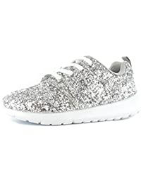 575686aa69bb2 Kids Running Childrens Trainers Shimmer Glitter Fitness Gym Sports Lace Up  Shoe Sizes 10-2