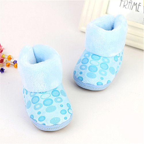 Zhhlinyuan Baby Girls Boys Soft Sole Snow Boots Toddler Warm Cotton Shoes One Size Blue
