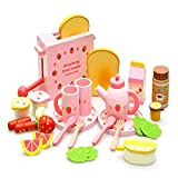 Set Completo di Legno della Macchina del Pane Kitchen Toys, con Piatti Carino E Cucchiai, Tea Set Latte E Frutta Modello per Bambini, Ragazzi Regali di Compleanno