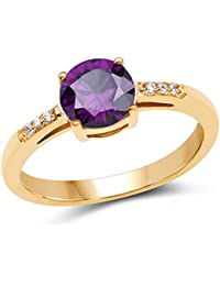 Johareez Gold Plated Contemporary Amethyst Solitaire Cubic Zirconia Ring For Women
