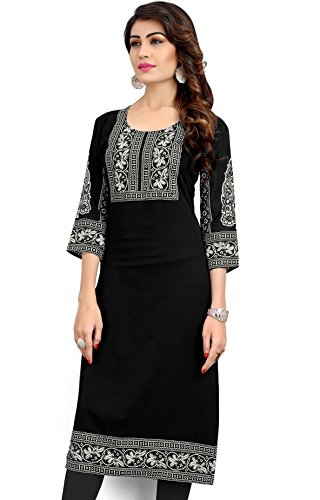 Eternal Women's Printed American Crepe Long Kurta Kurti Tunic Top(TSFL72_XXL, Black)