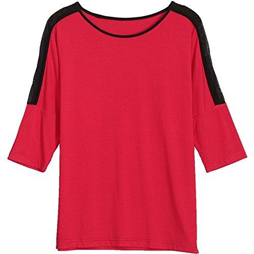 MoMo T-shirt à manches courtes T-shirt à manches longues en coton à manches longues,rouge