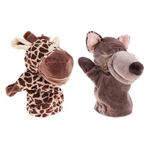 Homyl 2X Plüschtiere Handpuppen Puppen Spielzeug mit Wolf und Giraffen Figuren für Baby Geschichte zum Erzählen