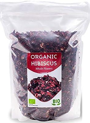 HerbaNordPol Fleurs d'Hibiscus Bio | Égyptien | Qualité Premium Hibiscus | 1 kg de BIO | Grandes pétales pour le thé en vrac