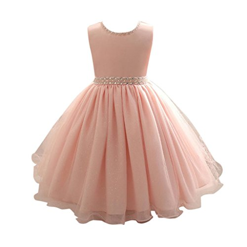 Vestito principessa bambina rosa abito ragazze festa di carnevale formale senza maniche pageant vacanza nozze damigella d'onore girl's kids wedding dress 6mesi---7anni (rosa, 24m)