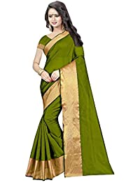 Mac Sarees Women's Cotton Silk Saree With Blouse Piece (Latest Saree M77_Green)
