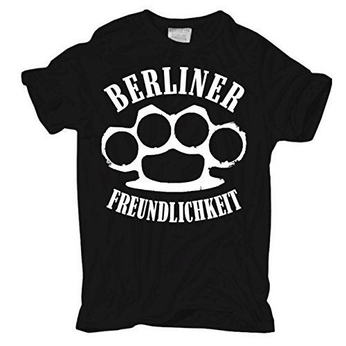 Männer und Herren T-Shirt Berliner Freundlichkeit Schwarz
