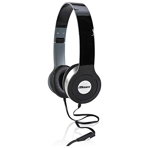 2BOOM Professional Series Over Ear Wired Stereo Headphone Comfort Headset  with Microphone Black