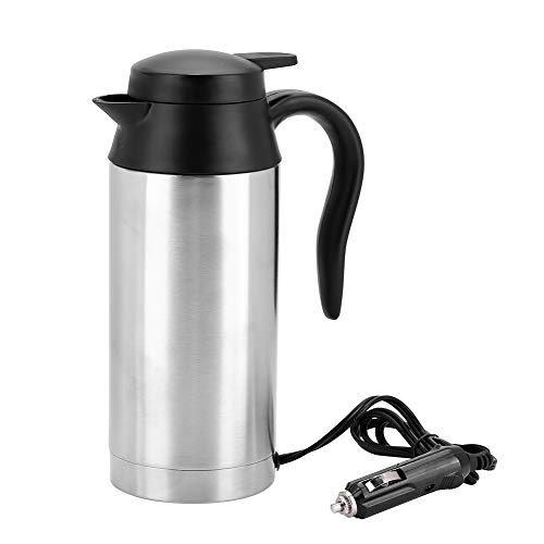Garsent Bollitore Acqua Elettrico in Acciaio Inox di 750ml 24V, Portatile Auto bollitore con Presa accendisigari Riscaldamento Tazza,Bollitore di Viaggio per tè, caffè.