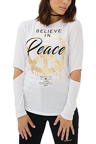 trueprodigy Casual Damen Marken Long Sleeve mit Aufdruck, Oberteil Cool und Stylisch mit Rundhals (Langarm & Slim Fit), Langarmshirt für Frauen in Bedruckt Farbe: Weiß 1182507-2000-XS