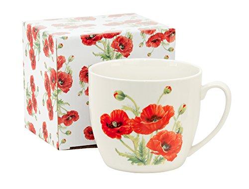 Jumbo-Tasse XXL Kaffeebecher Kaffeetasse Porzellan weiß groß Teetasse Geschenktasse Blumen Deko Trinkbecher Becher Mug 750 ml von DUO in Geschenkbox Tasse für Kaffee Tee Cappucino Suppen (Mohn) (Abbildung Home-keramik-dekorative)
