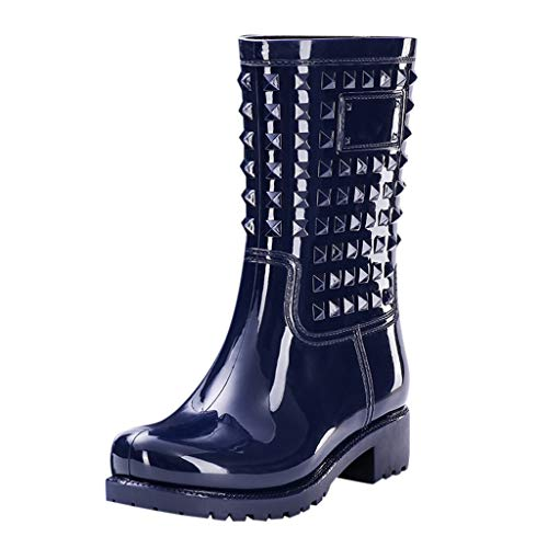 FIRMON Stivali da Pioggia da Donna a metà Polpaccio, con Rivetti in PVC, Impermeabili, Tacco Alto Quadrato Blue 41 cm