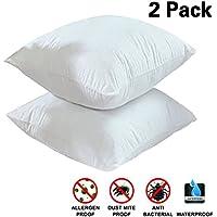 wivarra Lot de 2 Protège Oreillers Imperméables (60 * 60 cm) Taie d'oreillers Respirant, Hypoallergénique, Anti-Bactérien (Blanc)
