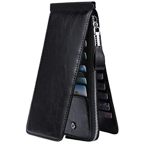 JEEBURYEE Portefeuille Femme Porte monnaie Porte Cartes de Crédit RFID Long Zippé Porte feuille Compagnon en Cuir pour Femme Noir
