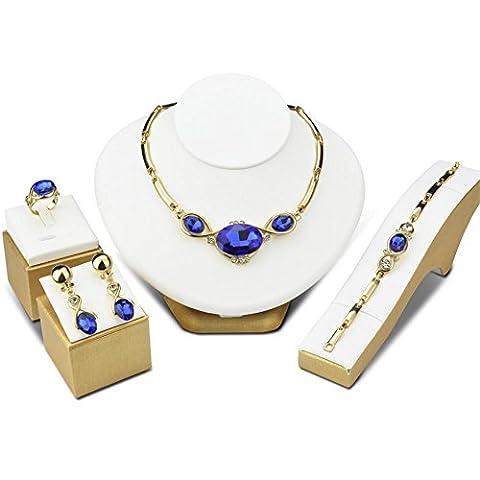 Diamant de la femme coupe brillant cristal pendentif collier boucles d'oreilles bijoux set