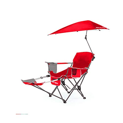 Red Beach Chair (HYRL Recliner Chair, Sport Portable Sun Shelter Weather Umbrella Recliner Falten Chair, Outdoor Fell Chair Fishing Chair Beach Chair,Red)