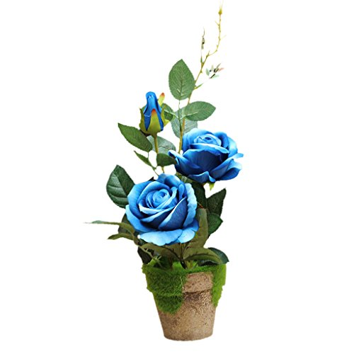 Sharplace Künstliche Blume im Topf Rosen – Rosenblüten – Kunstblumen – Kunstpflanzen – Seidenrosen