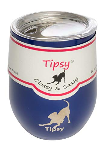 TIPSY Weinglas mit Deckel, doppelwandig, isoliert, Edelstahl, Vakuumversiegelt, 312 ml, von TIPSY 12 oz navy
