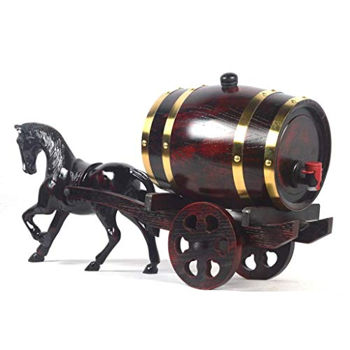 SHIJIAN Dispenser per Botti di Vino in Legno di Rovere Vintage per Birra whis a Rum - Ottimo Regalo per Uomini e Donne (Vino...