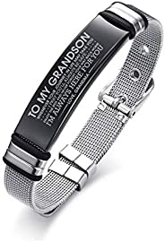 DAIDAISL Personalized Bangle Men'S Slide Mesh Bracelet Silver Customized Name Wristands Stainless Steel