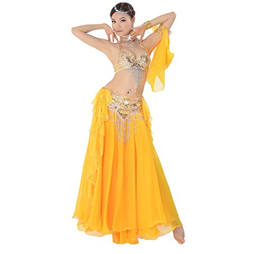 Byjia Dance costumes Bauch Tanzen Performance Frau Handmade Diamant Perlen Pailletten BH Rock Quaste Gürtel Modern Trainieren Kostüm Yellow M