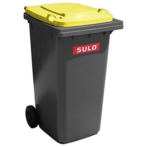 SULO Mülltonne Müllbehälter 2 Rad MGB ***80 Liter grau mit gelbem Deckel*** (Mit Mülltonnen Rädern)