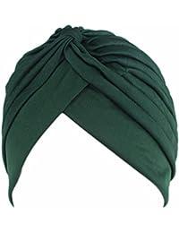 QHGstore Mujer Chemo plisado Pre cabeza atada cubierta hasta Bonnet Sun Turbante Cap verde oscuro