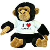 Chimpancé de peluche (juguete) con Amo Camomile en la camiseta (nombre de pila/apellido/apodo)