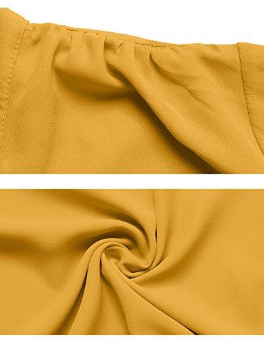 Abollria Damen Bluse Elegant Business Chiffon Blusen Langarm Tunika Blouse V Ausschnitt Kragen mit Schleife Gelb