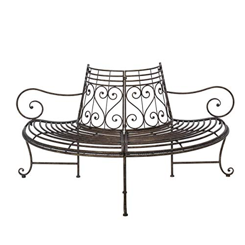 Pureday Gartenbank Baumbank - Halbrund mit Armlehnen - Antik Look - Metall