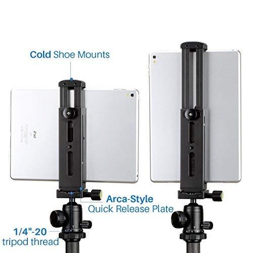 Ulanzi Metall Aluminium Stativ Mount Adapter Tablet Klemme Halter für iPad Pro Mini 1/10,2 cm-20 Gewinde Cold Shoe Mount Light Mikrofon