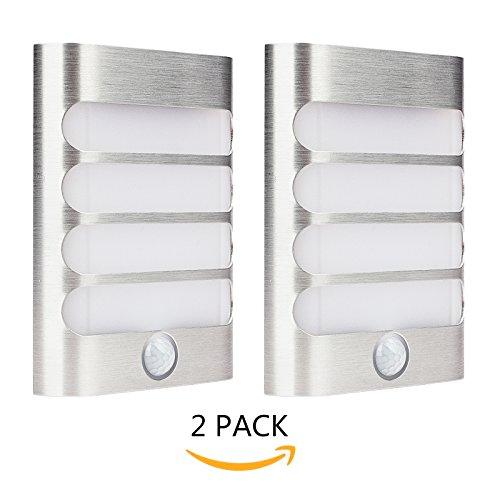 2-Pack Leadleds Luxury Aluminium Stick Anywhere Bright Motion Sensor LED Wall Wandlampen Night Light Akku betrieben, Auto on/off für Flur, Schrank, Weg, Treppe, Garten (Garten Stick Light)