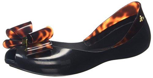 Vivienne Westwood & MelissaVivienne Westwood Queen - Peep-Toe donna , nero (Black (black Tortoiseshell Bow)), 40