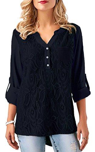 ECOWISH V Ausschnitt Damen Top Spitzen Oberteil Casual Tunika Langarm Shirt Bluse Navy Blau S