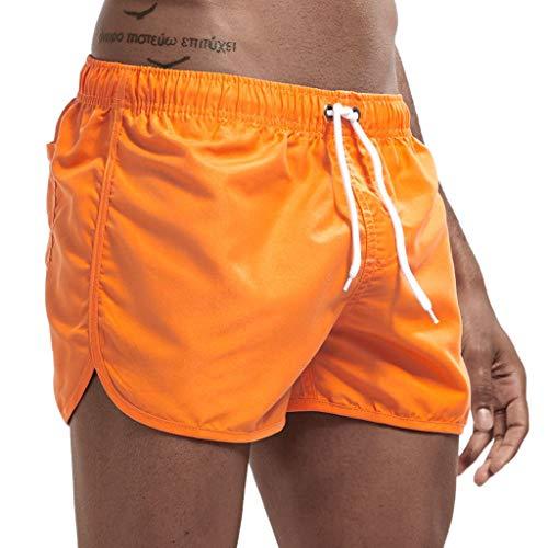 Daysing Badehose Herren Bugatti Strandhose Herren 3/4 grüne Damen Bunte Sommerhosen Herren Badebekleidung weiße männer Schwimmhose Knielang(Orange,Large)