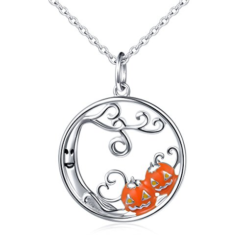 (DAOCHONG Thanksgiving-Schmuck S925 Sterling Silber Crescent Moon Luminous Perlen/Teufel Wald Kürbis/Hexe auf Flying BroomCharm Anhänger Halskette)