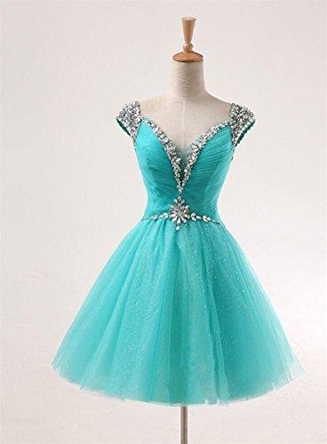 Drasawee Damen A-Linie Kleid Blau