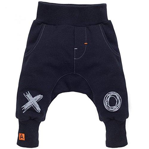 Pinokio - Xavier - Baby Hose 100% Baumwolle,dunkelblau-schwarz - Jogginghose, Haremshose Pumphose Schlupfhose- elastischer Bund, unisex (92)